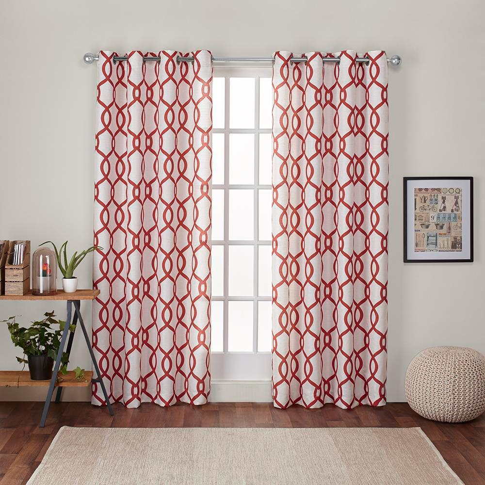 Kochi 54 in. W x 96 in. L Linen Blend Grommet Top Curtain Panel in Mecca Orange (2 Panels)