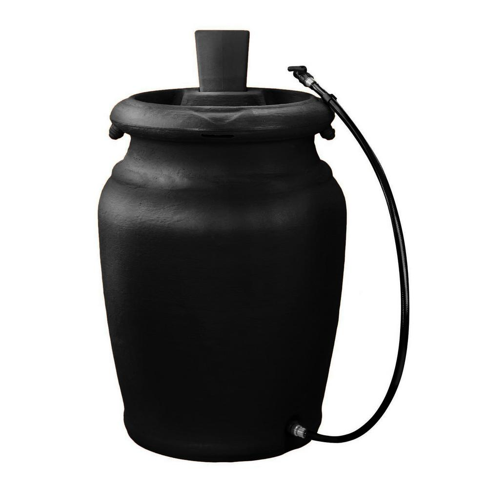 Fcmp Outdoor 50 Gal Black Urn Style Rain Barrel With Planter Us4000