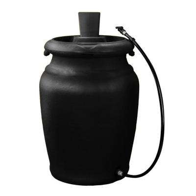 50 Gal. Black Urn Style Rain Barrel with Planter