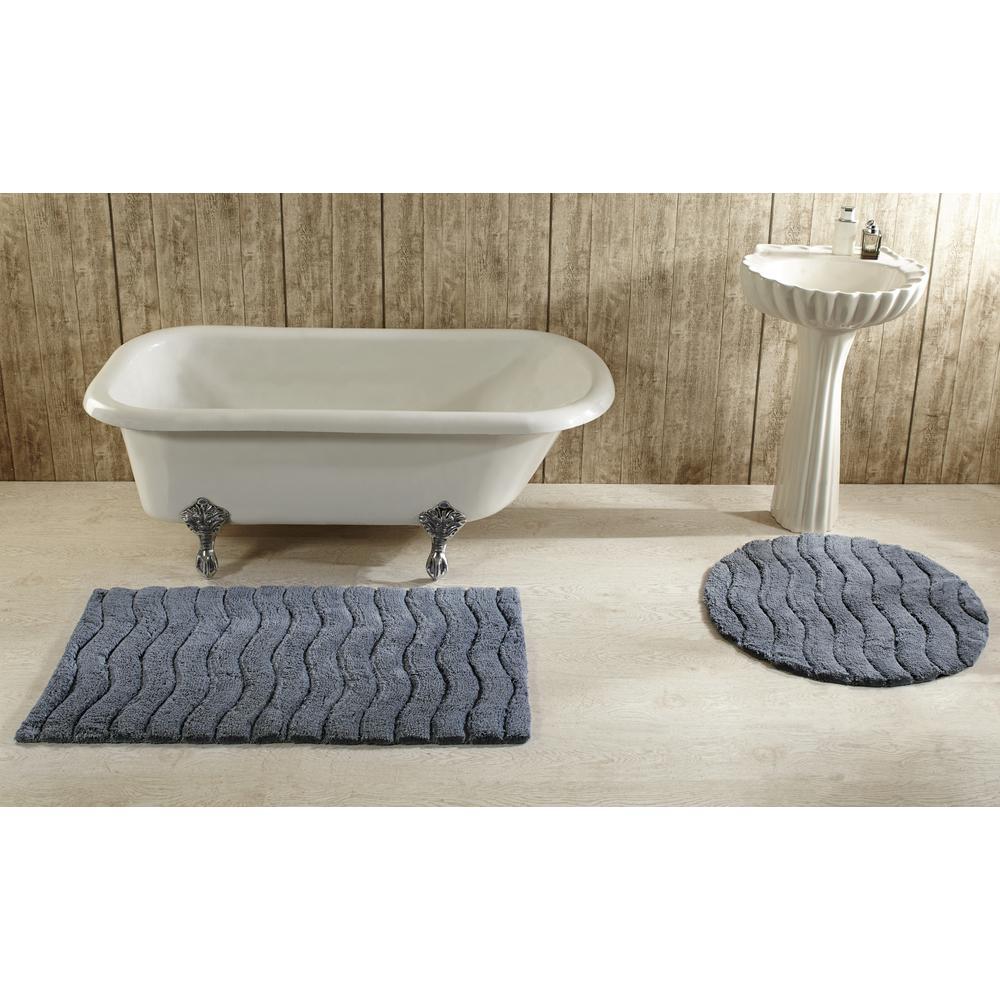 Indulgence 27 in. x 45 in. Grey Bath Rug