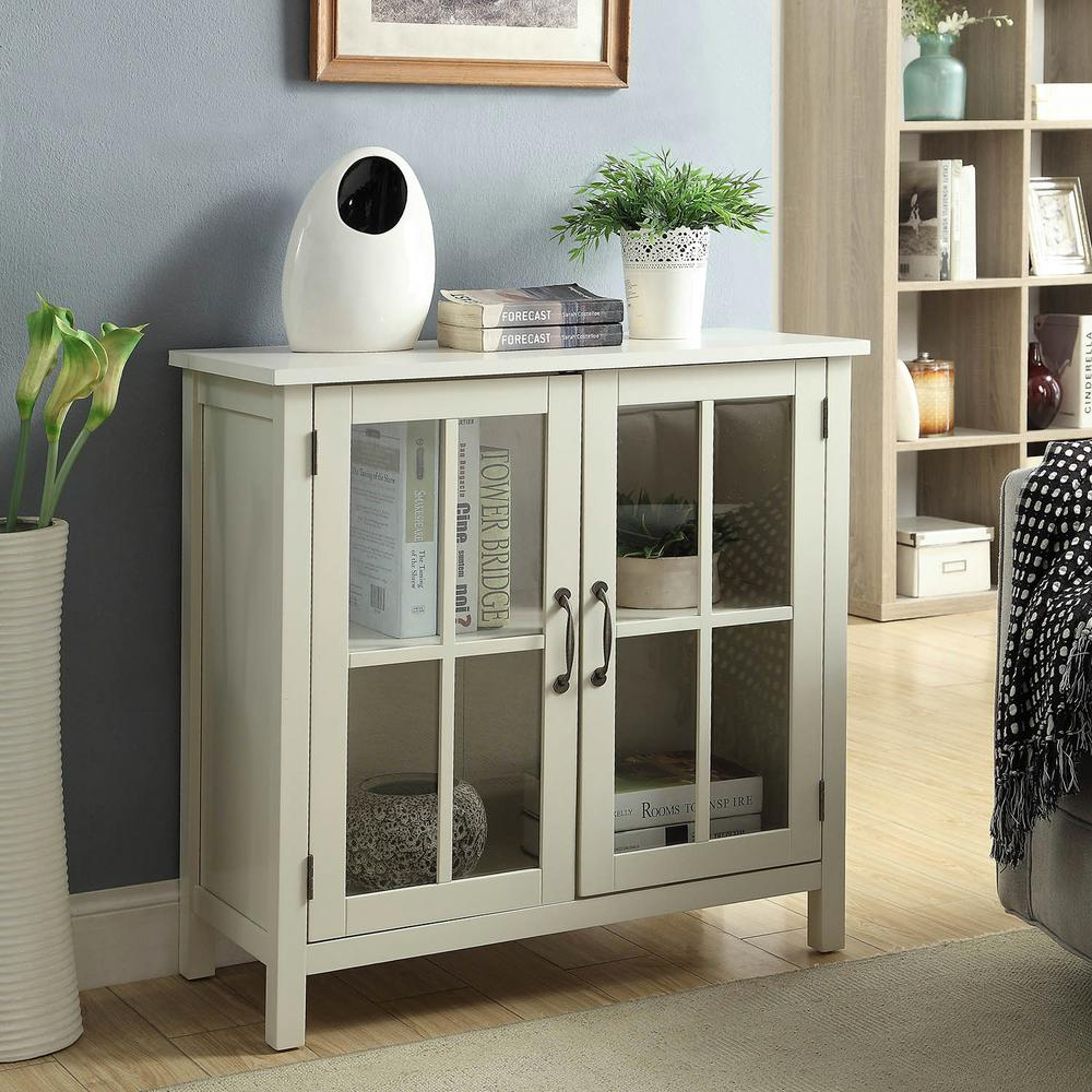 Usl Olivia White Accent Cabinet And 2 Glass Doors Sk19087c2 Pw The