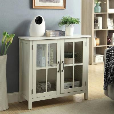 Olivia White Accent Cabinet and 2-Glass Doors