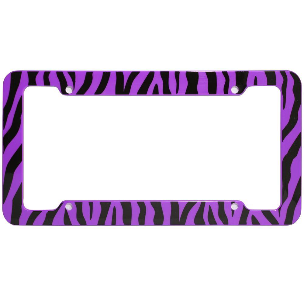 OxGord Zebra Purple and Black License Plate Frame-LFPL-Z1-PP - The ...