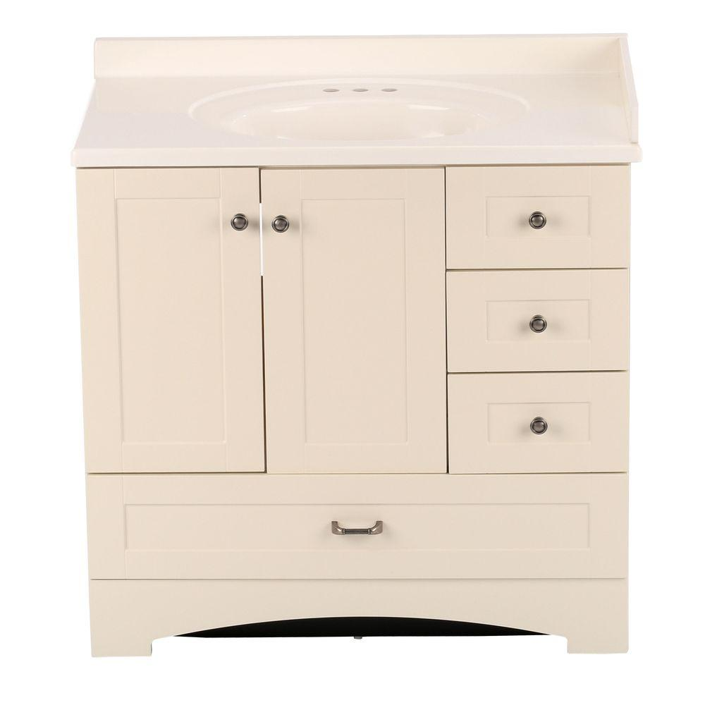36 in. Manchester Vanity in Vanilla with 37 in. Cultured Marble