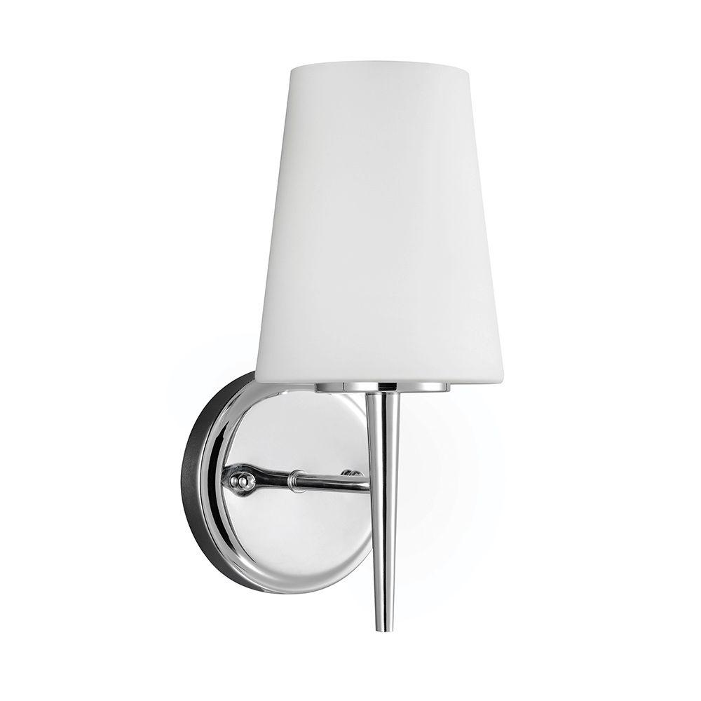 sea gull lighting driscoll 5 25 in w 1 light chrome wall bath rh homedepot com bathroom wall sconce chrome finish
