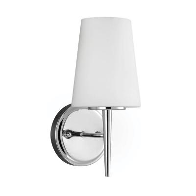 Driscoll 5.25 in. W 1-Light Chrome Wall/Bath Sconce with Inside White Etched Glass