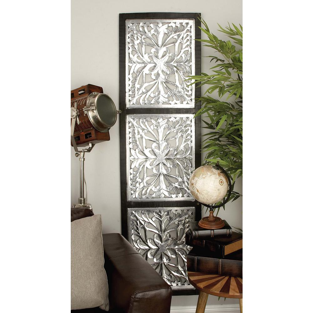 72 in. x 20 in. Classical Decorative Lattice-Patterned Wood and Iron