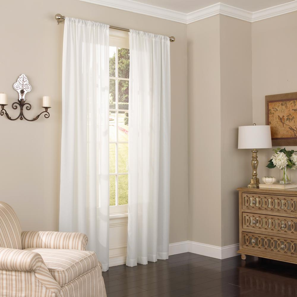 Eclipse Chelsea UV Light-Filtering Sheer Window Curtain Panel in White - 52 in. W x 108 in. L