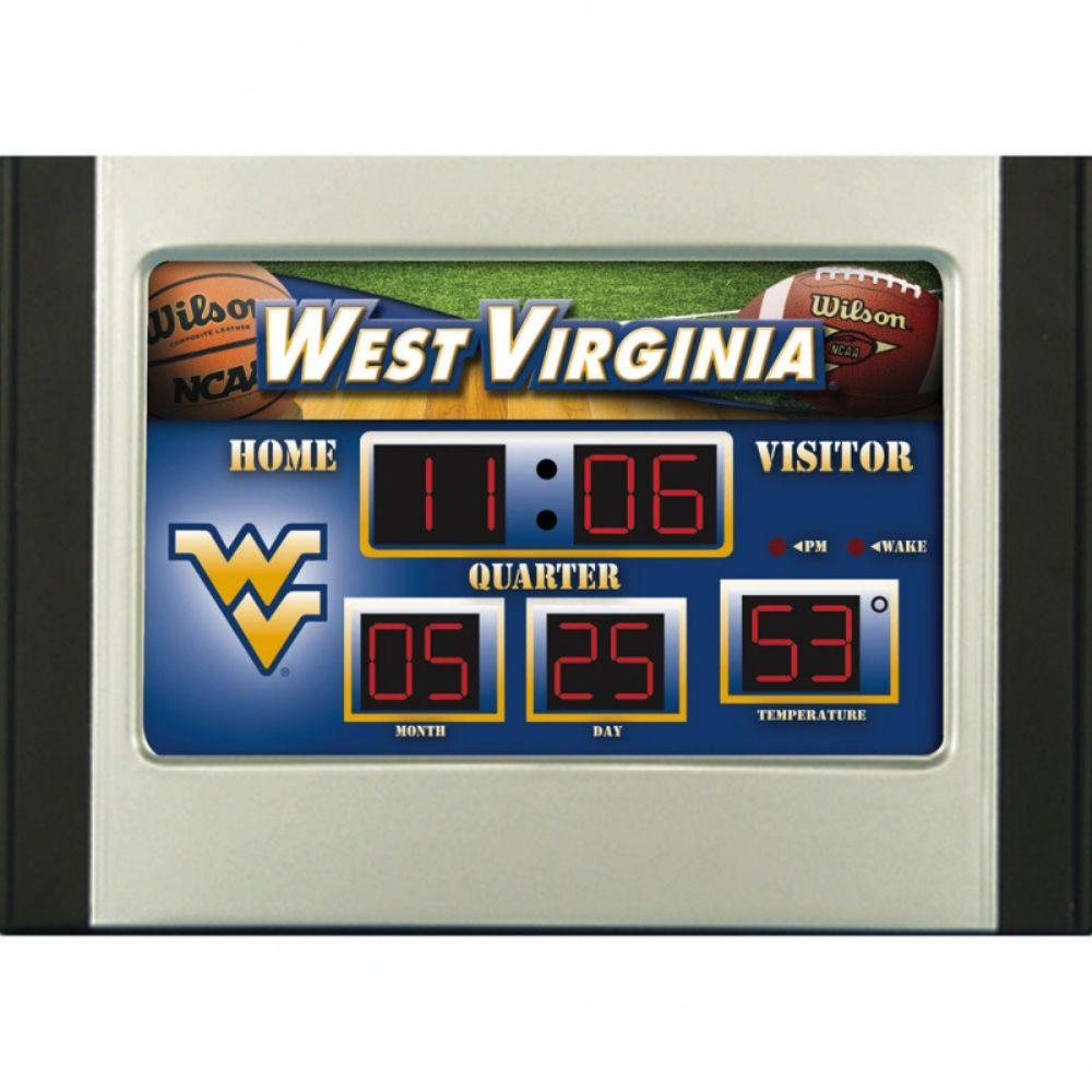 null West Virginia University 6.5 in. x 9 in. Scoreboard Alarm Clock with Temperature