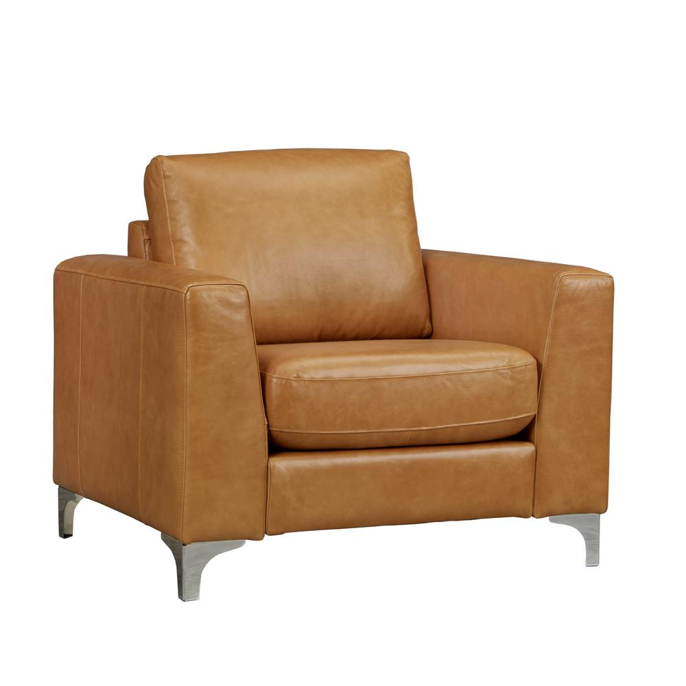 Leather Accent Chairs Metal Legs Caramel.Homesullivan Russel Caramel Leather Arm Chair 40e938cm 1bchr The