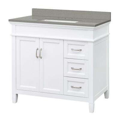 Ashburn 37 in. W x 22 in. D Vanity Cabinet in White with Engineered Quartz Vanity Top in Sterling Grey with White Basin
