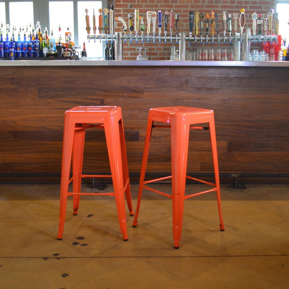 Loft Style 30 in. Stackable Metal Bar Stool in Orange (2-Piece)