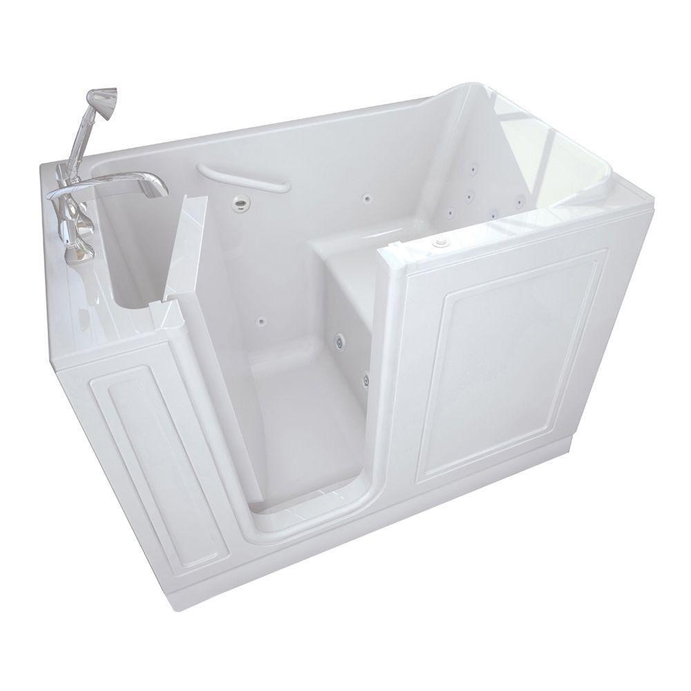 American Standard Acrylic Standard Series 51 In X 30 In Left Hand Walk In Whirlpool Tub With Quick Drain In White 3051 114 Wlw The Home Depot