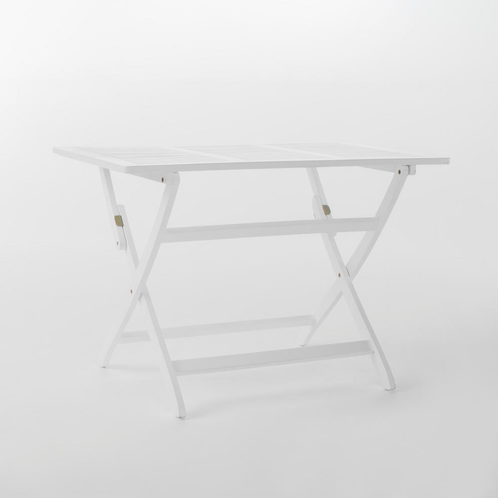 Le House Wynter White Rectangular Folding Wood Outdoor Dining Table