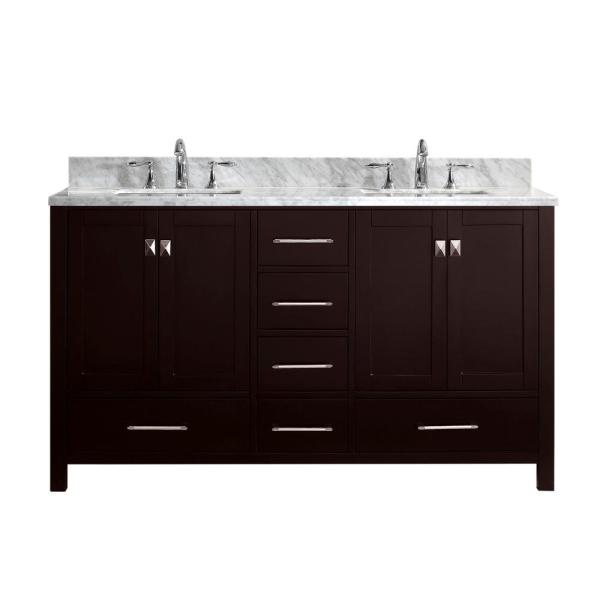 Caroline Avenue 60 in. W Bath Vanity in Espresso with Marble Vanity Top in White with Square Basin