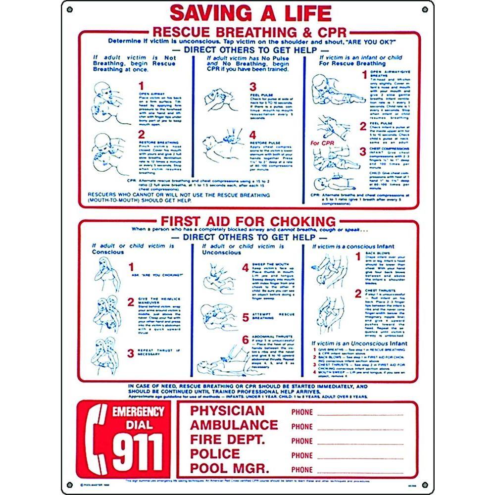 Saving a Life Swimming Pool and Spa Sign
