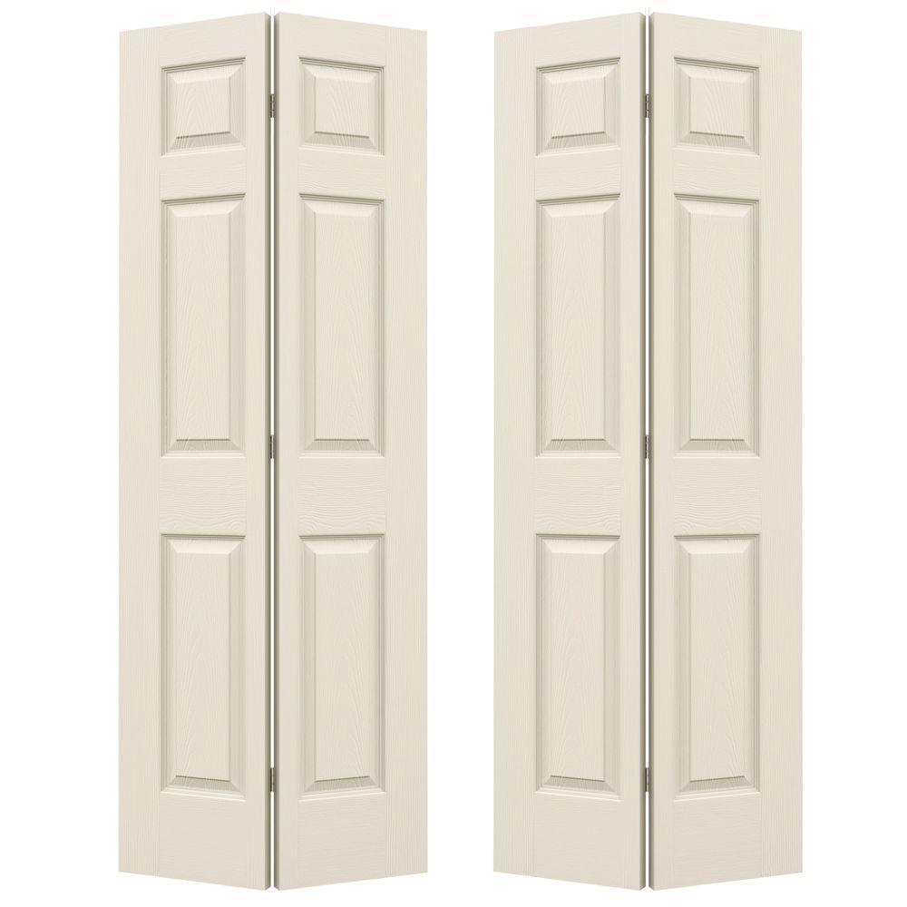 48 in. x 80 in. Colonist Primed Textured Molded Composite MDF Closet Bi-Fold Double Door