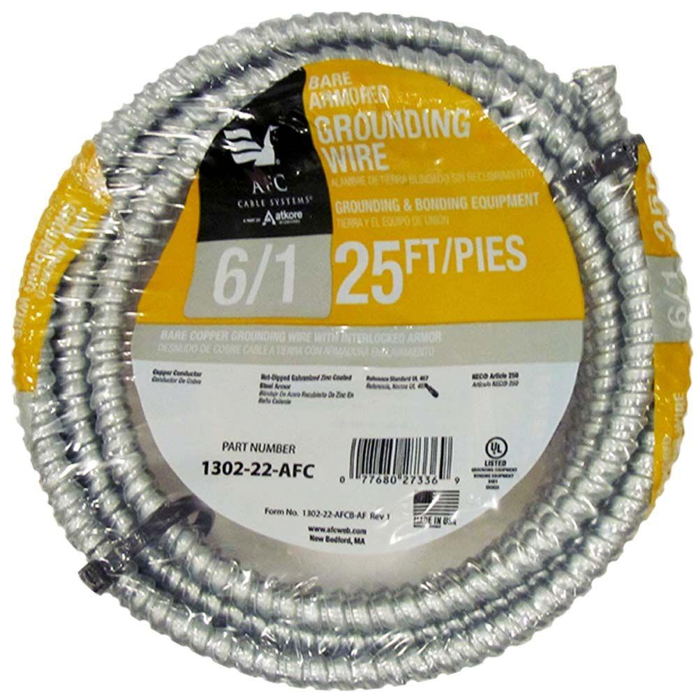 AFC Cable Systems 6/1 x 25 ft. Bare Armored Ground Cable-1302-22-AFC ...