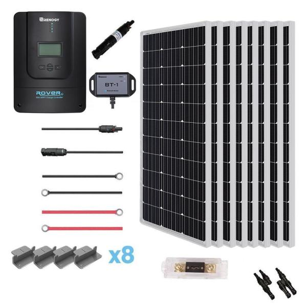 800-Watt 12-Volt Monocrystalline Solar Premium Kit with Rover 60 Amp Charger Controller