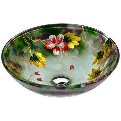 Impasto Series Vessel Sink in Hand Painted Mural with Matching Chrome Waterfall Faucet