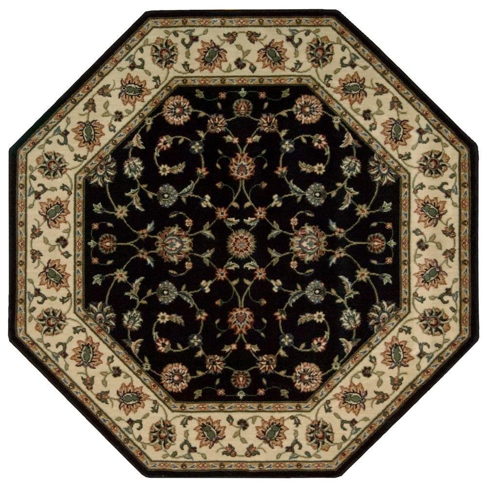 Persian Arts Marlik Black 5 ft. 3 in. x 5 ft. 3 in. Octagon Area Rug