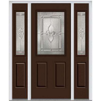 64 in. x 80 in. Master Nouveau Right-Hand 1/2-Lite Decorative Painted Fiberglass Smooth Prehung Front Door w/ Sidelites