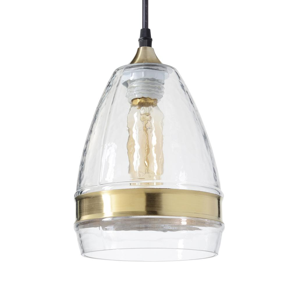 104603974bb9 H 1-Light Brass Ring Hammered Hand Blown Glass Pendant Light with Clear  Glass Shade