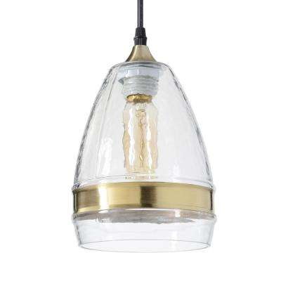 6 in. W x 10 in. H 1-Light Brass Ring Hammered Hand Blown Glass Pendant Light with Clear Glass Shade