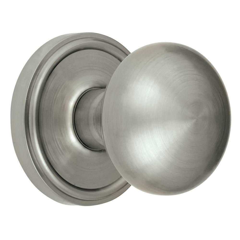 Grandeur Georgetown Rosette Satin Nickel with Dummy Fifth Avenue Knob