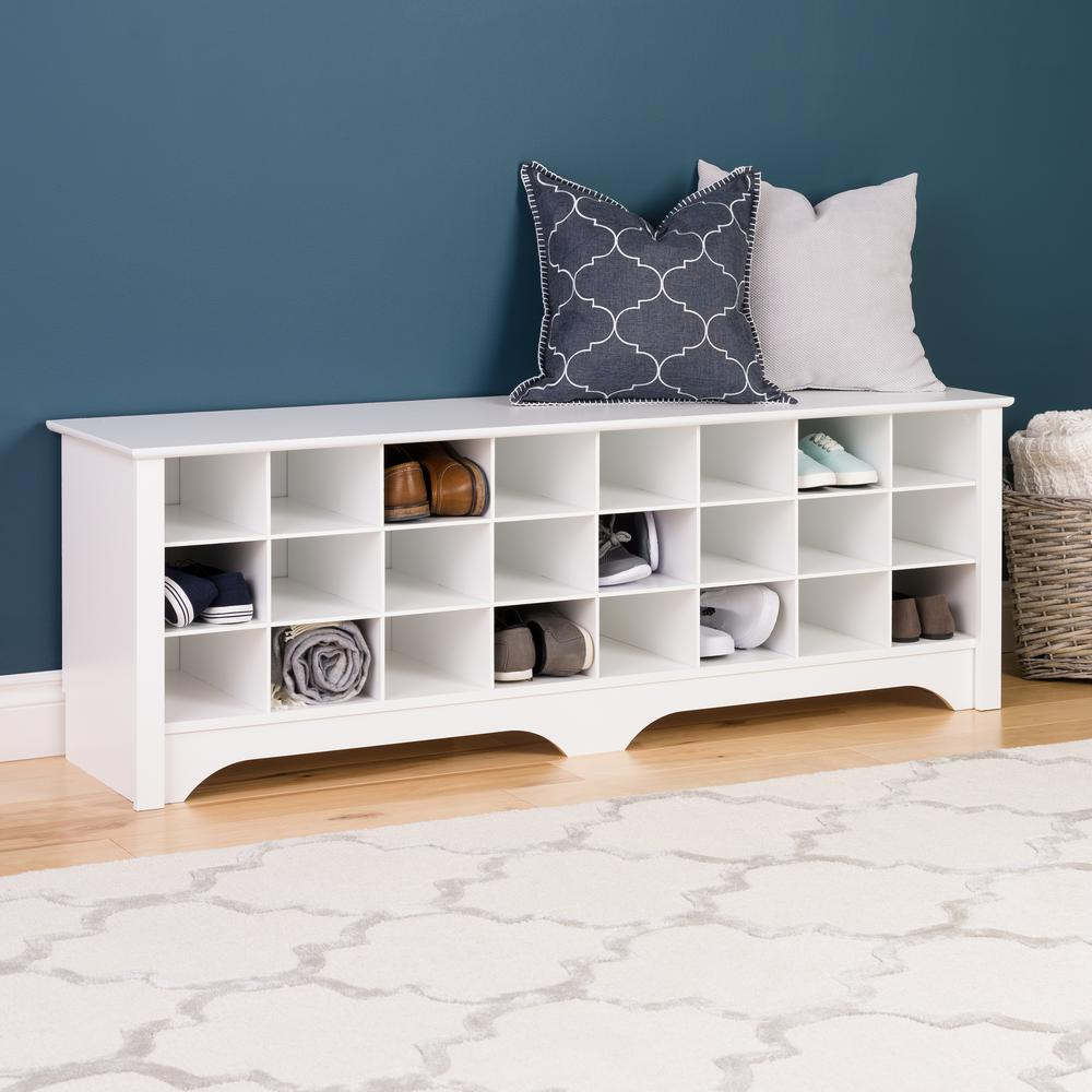 Prepac 60 in. White Shoe Cubby Bench WSS 6020   The Home Depot