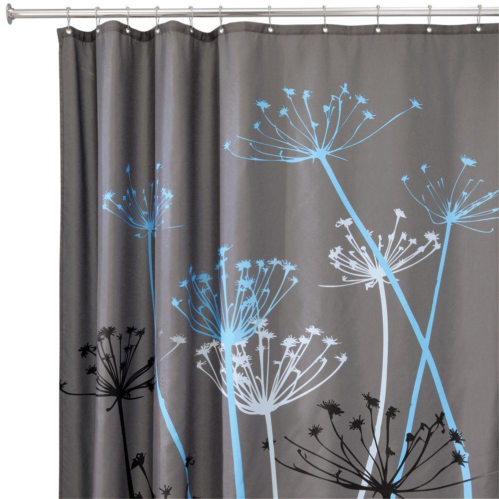 interDesign Thistle 72 in. x 72 in. Shower Curtain in Gray/Blue ...
