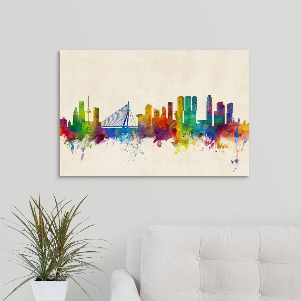30 in. x 20 in. ''Rotterdam The Netherlands Skyline'' by  Michael Tompsett Canvas Wall Art