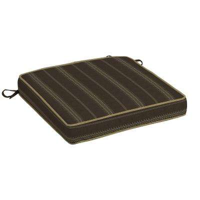 Trevor Stripe Espresso Snap Dry Outdoor Seat Cushion
