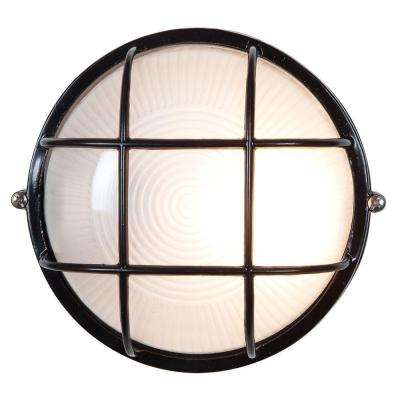 Nauticus 1-Light Black Outdoor Bulkhead Light with Frosted Glass Shade