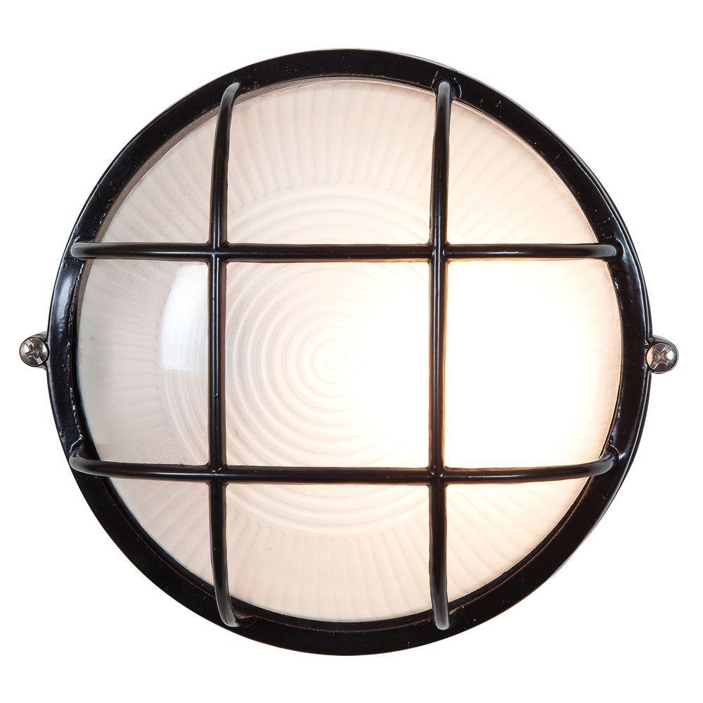 Nauticus 1-Light Black Outdoor Bulkhead Light with FrostedGlass Shade