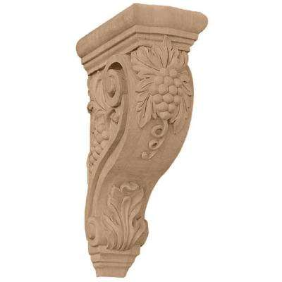 4-1/4 in. x 8 in. x 13-1/4 in. Unfinished Lindenwood Devon Grapes and Vines Corbel