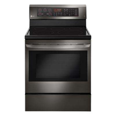 6.3 cu. ft. Electric Range with True Convection Oven and Self Clean in Black Stainless Steel