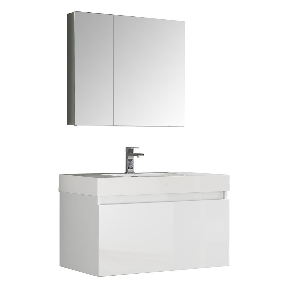 Fresca Mezzo 36 in. Vanity in White with Acrylic Vanity Top in White with White Basin and Mirrored Medicine Cabinet