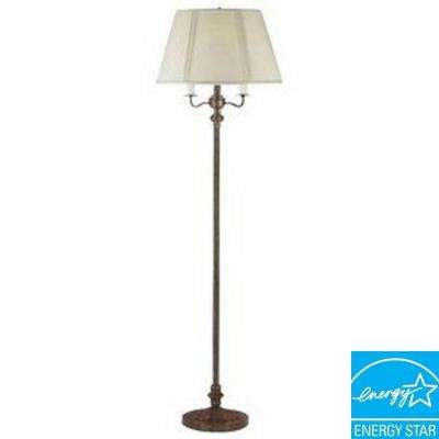 59 in. Rust Metal 6 Way Floor Lamp