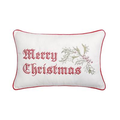 Wenham Holly Christmas Red Pillow 14 in. x 22 in.