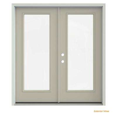 72 in. x 80 in. Desert Sand Painted Steel Right-Hand Inswing Full Lite Glass Stationary/Active Patio Door