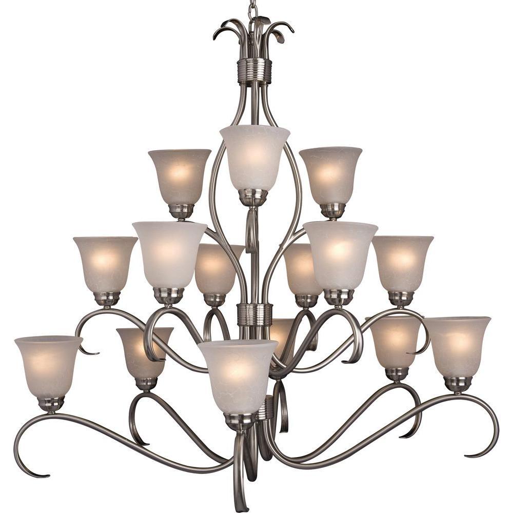 Maxim Lighting Basix 15-Light Satin Nickel Chandelier