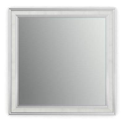 33 in. W x 33 in. H (L2) Framed Square Standard Glass Bathroom Vanity Mirror in Chrome and Linen