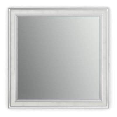 33 in. x 33 in. (L2) Square Framed Mirror with Standard Glass and Float Mount Hardware in Chrome and Linen