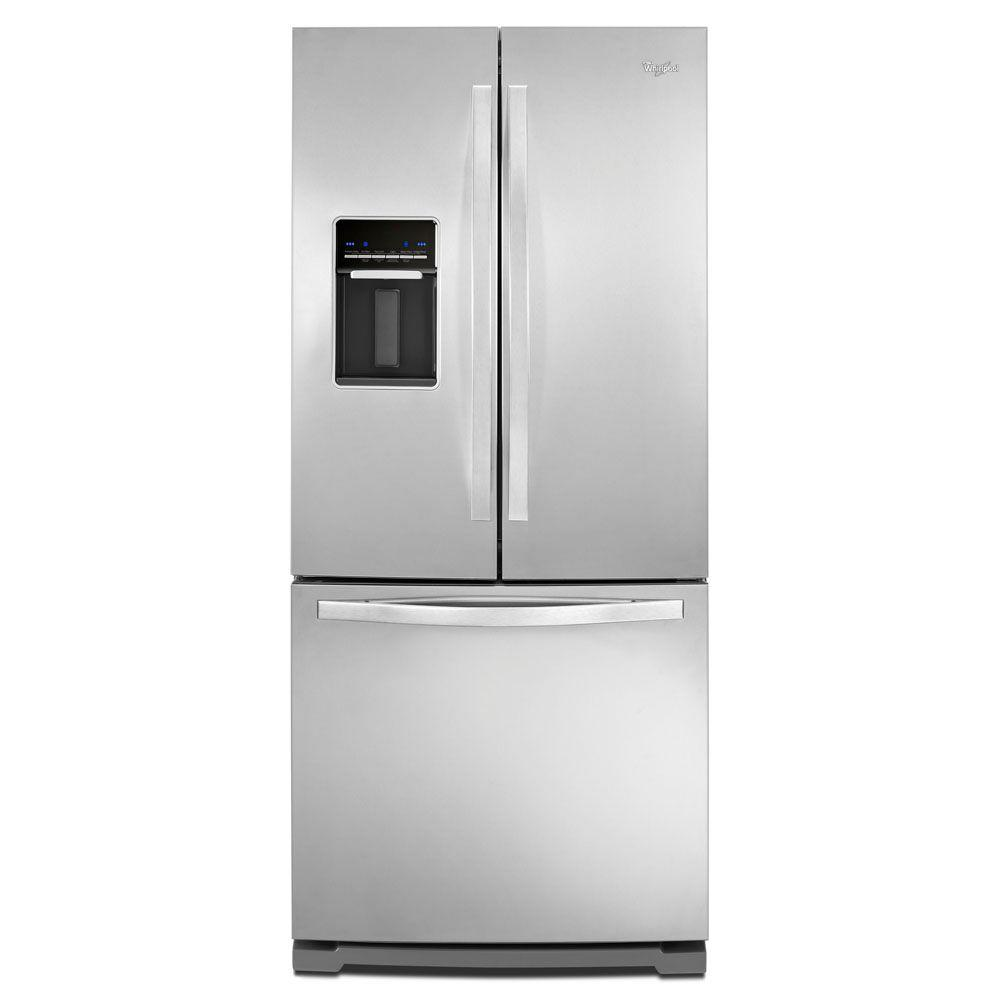 Kitchenaid 30 19 7 Cu Ft French Door Refrigerator With: Whirlpool 30 In. W 19.7 Cu. Ft. French Door Refrigerator In Monochromatic Stainless Steel