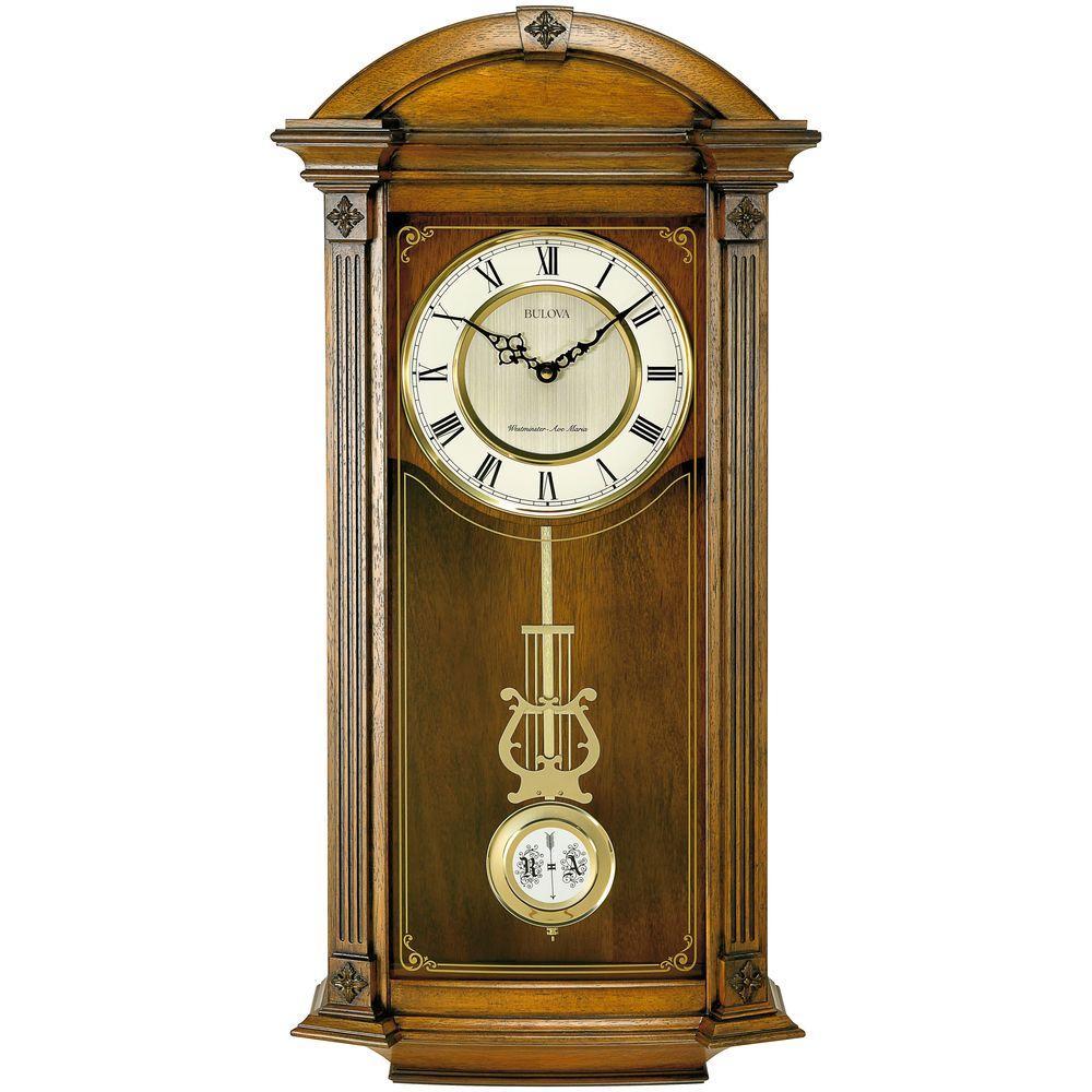 BULOVA Hartwick 30 in. H x 14 in. W Chime Wall Clock, Brown