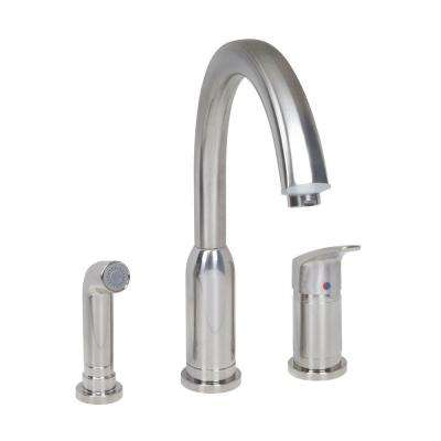 Arch Standard Single-Handle Kitchen Faucet with Side Sprayer in Stainless Steel