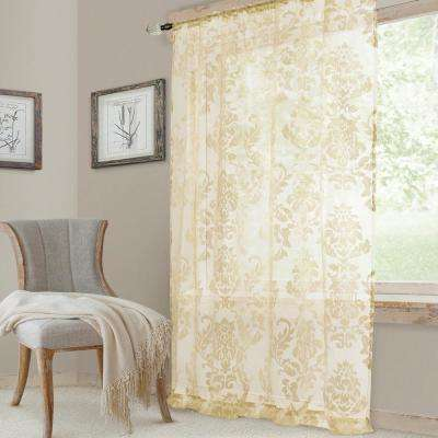 Valentina Sheer Ivory Single Window Curtain Panel - 52 in. W x 95 in. L