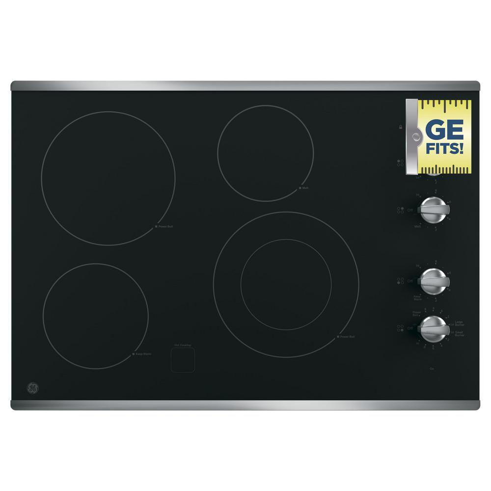 Ge 30 In Radiant Electric Cooktop In Stainless Steel With