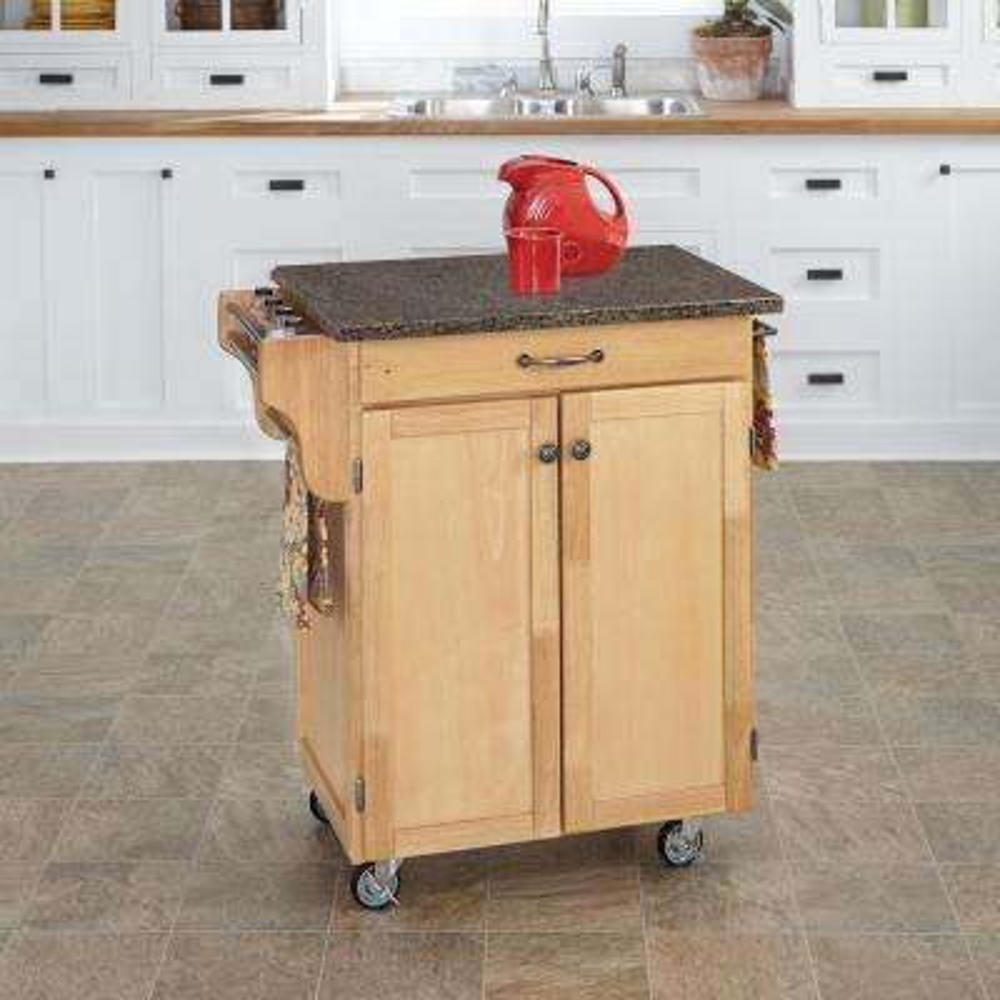Cuisine Cart Natural Kitchen Cart With Quartz Top